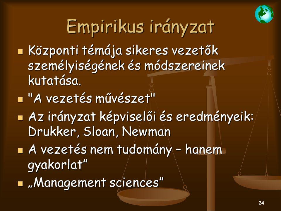 Empirikus irányzat Központi témája sikeres vezetők személyiségének és módszereinek kutatása. A vezetés művészet