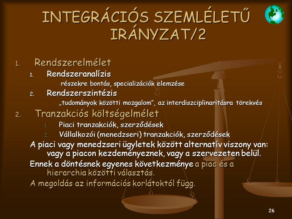 INTEGRÁCIÓS SZEMLÉLETŰ IRÁNYZAT/2