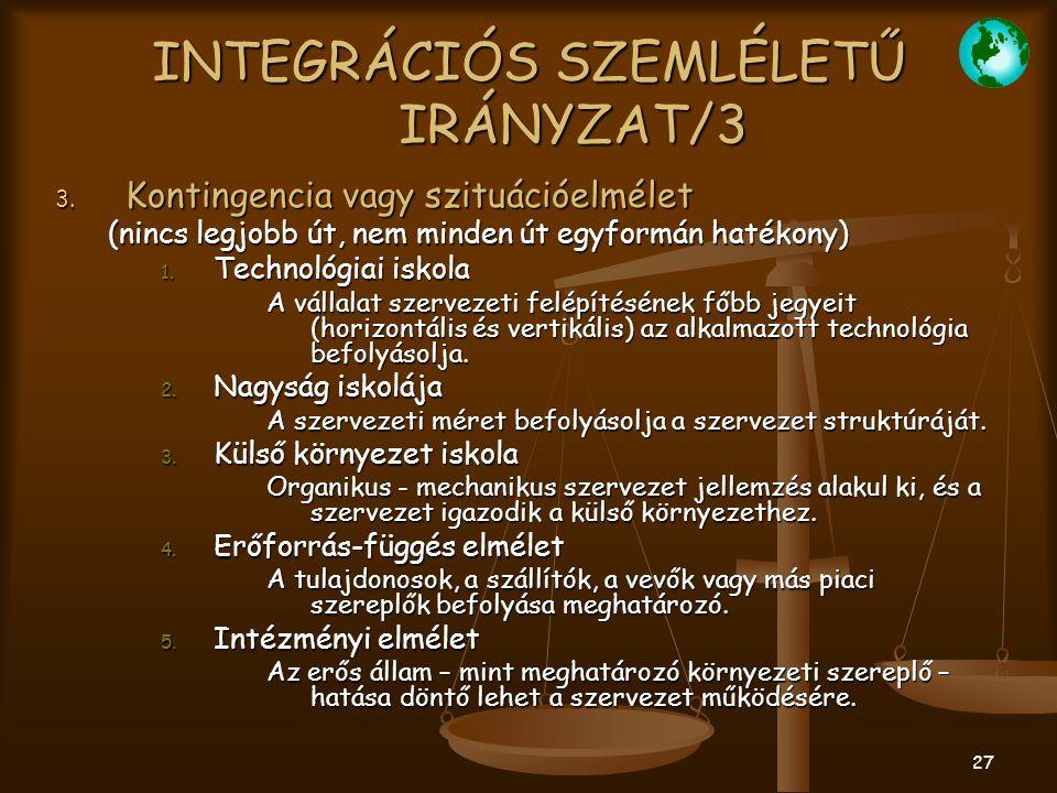 INTEGRÁCIÓS SZEMLÉLETŰ IRÁNYZAT/3
