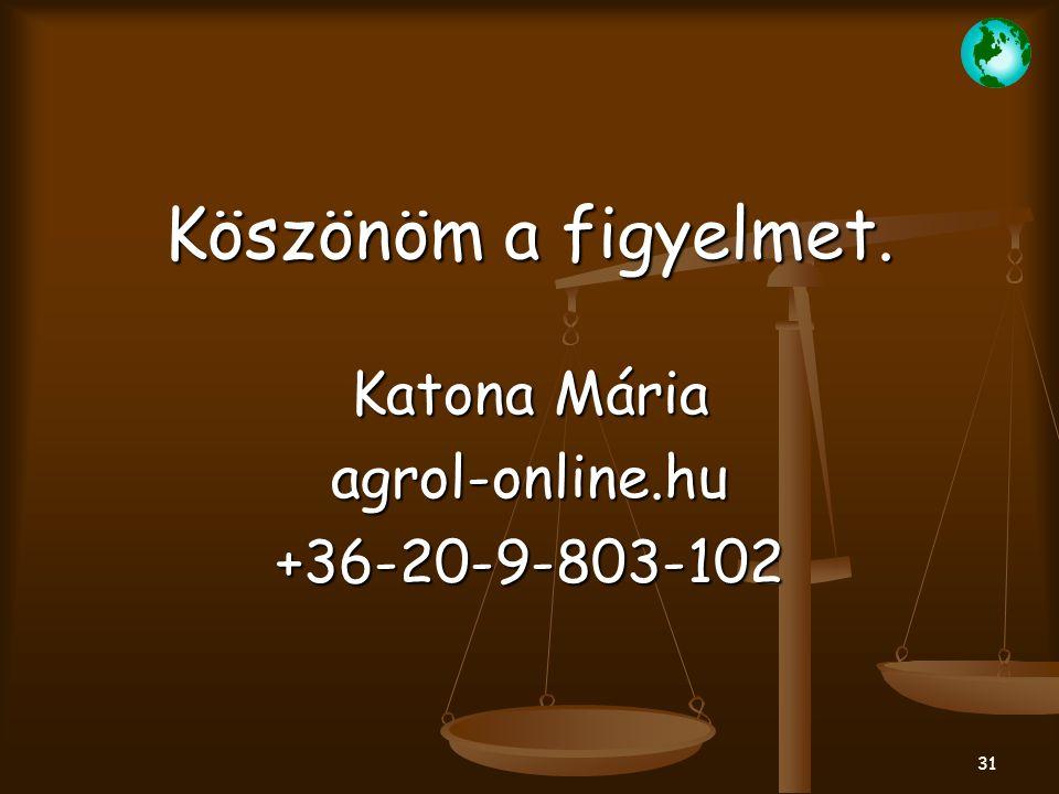 Köszönöm a figyelmet. Katona Mária agrol-online.hu +36-20-9-803-102