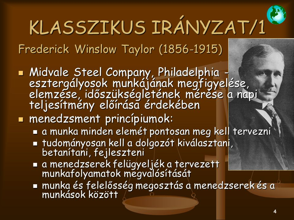 KLASSZIKUS IRÁNYZAT/1 Frederick Winslow Taylor (1856-1915)
