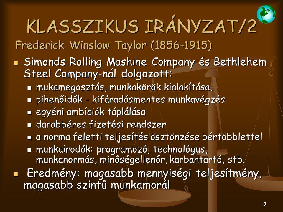 KLASSZIKUS IRÁNYZAT/2 Frederick Winslow Taylor (1856-1915)
