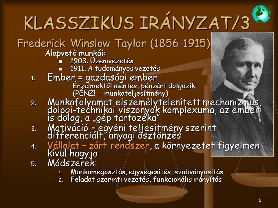 KLASSZIKUS IRÁNYZAT/3 Frederick Winslow Taylor (1856-1915)
