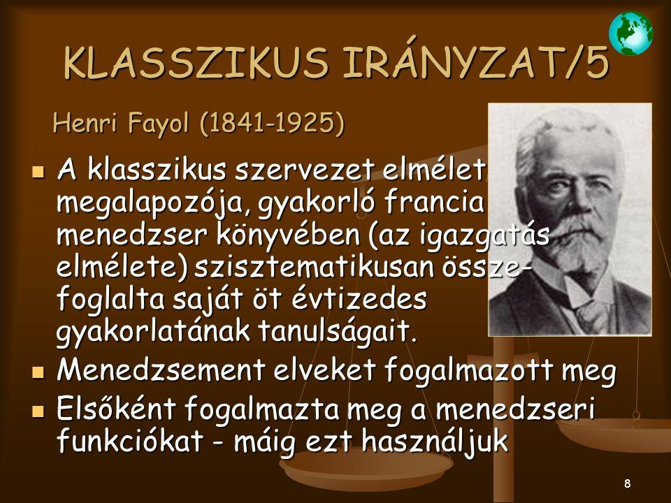 KLASSZIKUS IRÁNYZAT/5 Henri Fayol (1841-1925)