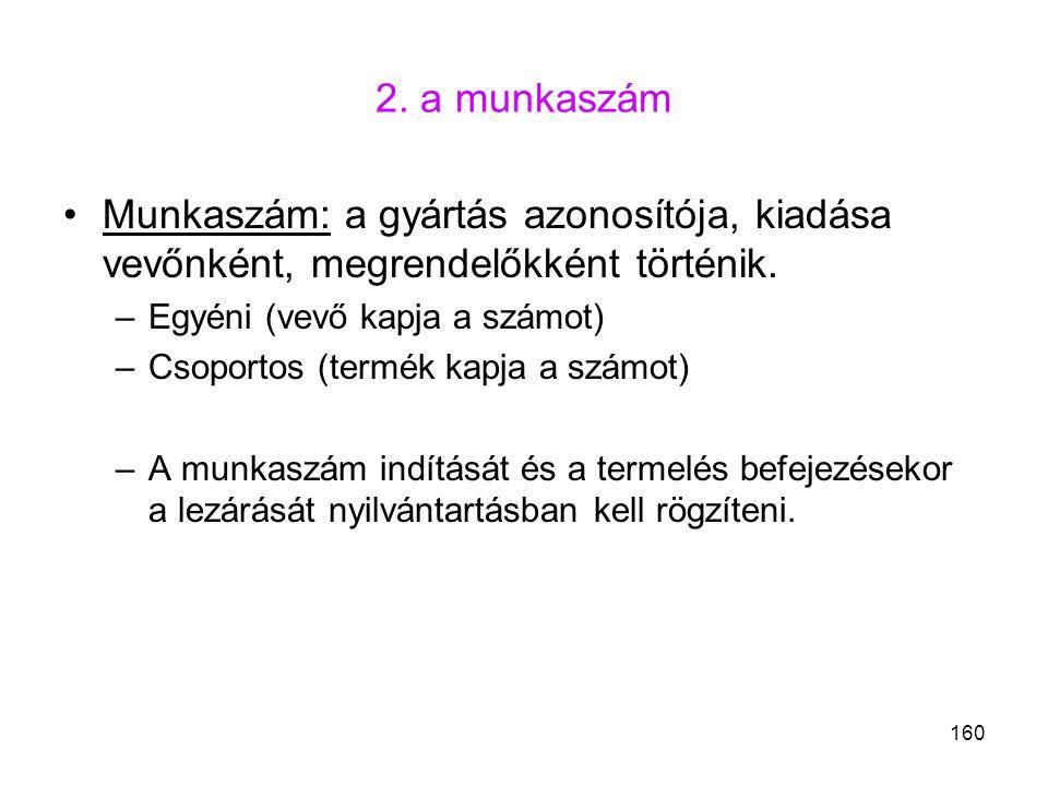 2. a munkaszám Munkaszám: a gyártás azonosítója, kiadása vevőnként, megrendelőkként történik. Egyéni (vevő kapja a számot)