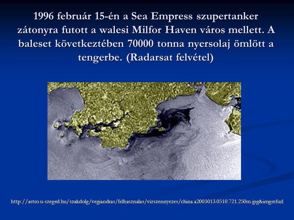 1996 február 15-én a Sea Empress szupertanker zátonyra futott a walesi Milfor Haven város mellett. A baleset következtében 70000 tonna nyersolaj ömlött a tengerbe. (Radarsat felvétel)