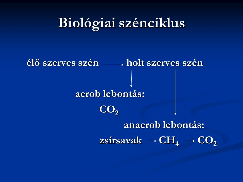 Biológiai szénciklus élő szerves szén holt szerves szén
