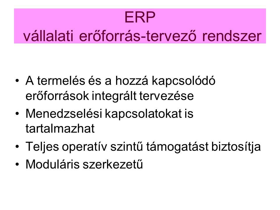 ERP vállalati erőforrás-tervező rendszer