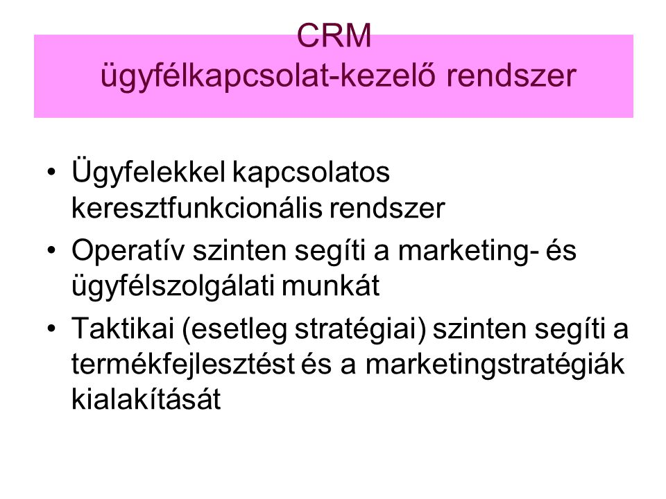 CRM ügyfélkapcsolat-kezelő rendszer