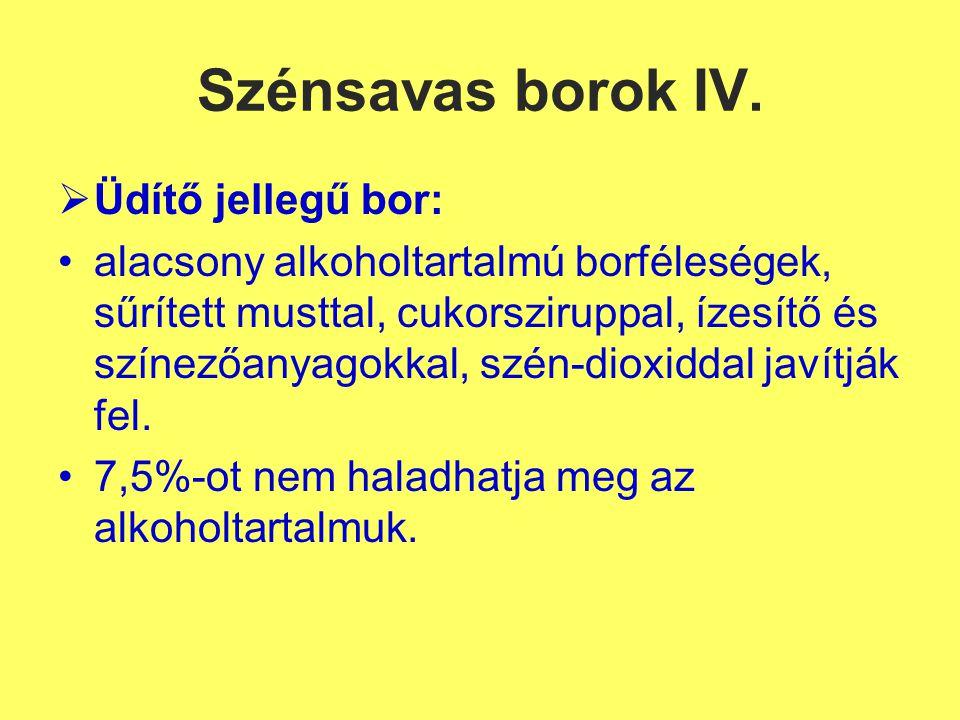 Szénsavas borok IV. Üdítő jellegű bor:
