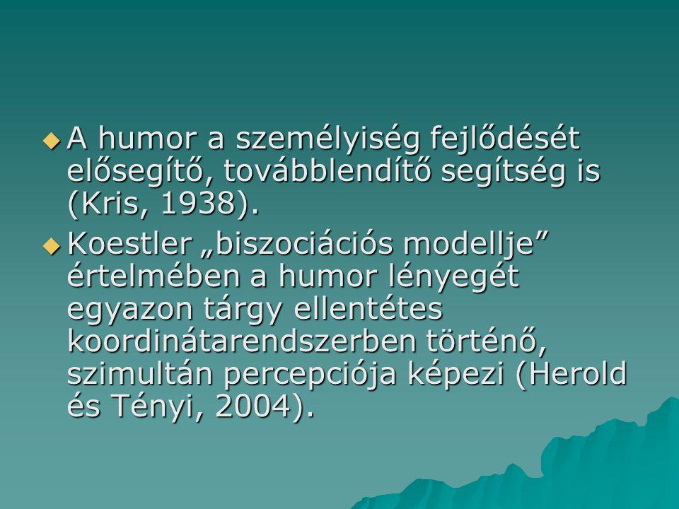 A humor a személyiség fejlődését elősegítő, továbblendítő segítség is (Kris, 1938).