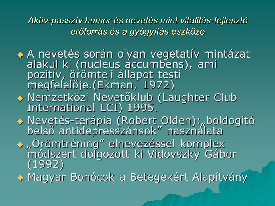 Nemzetközi Nevetőklub (Laughter Club International LCI) 1995.