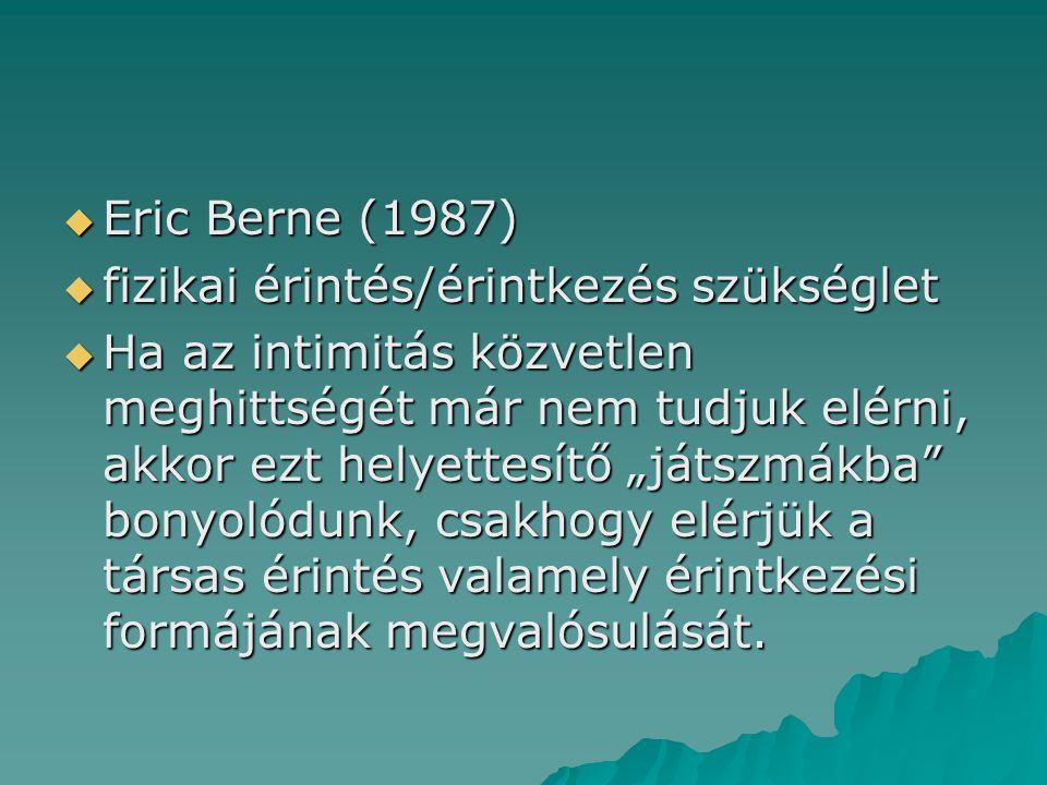 Eric Berne (1987) fizikai érintés/érintkezés szükséglet.