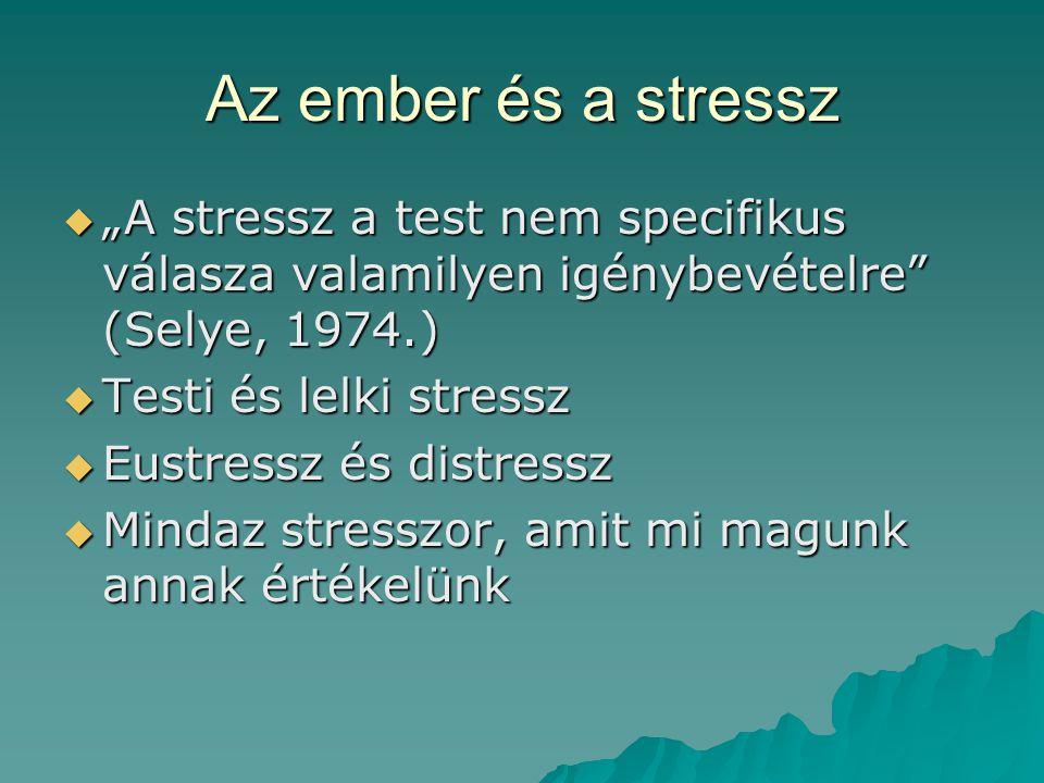 """Az ember és a stressz """"A stressz a test nem specifikus válasza valamilyen igénybevételre (Selye, 1974.)"""