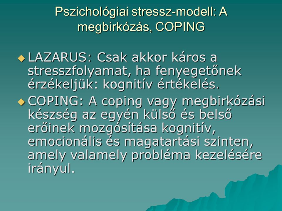 Pszichológiai stressz-modell: A megbirkózás, COPING