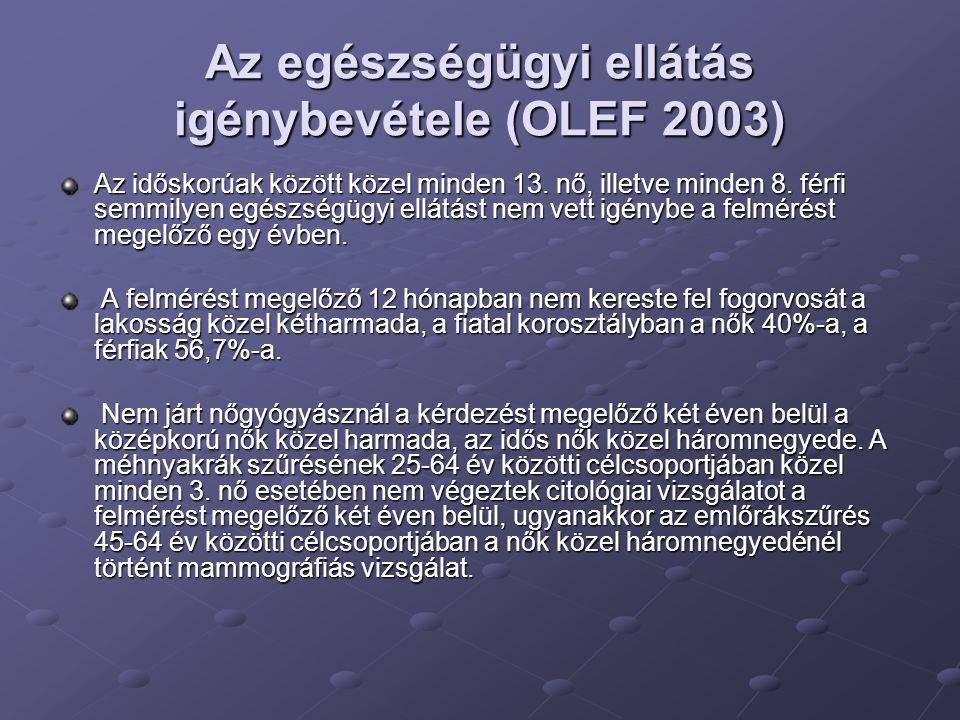 Az egészségügyi ellátás igénybevétele (OLEF 2003)