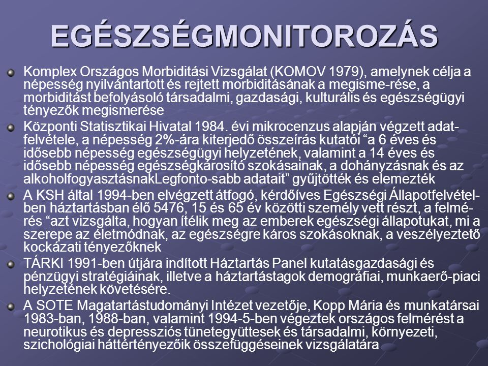 EGÉSZSÉGMONITOROZÁS