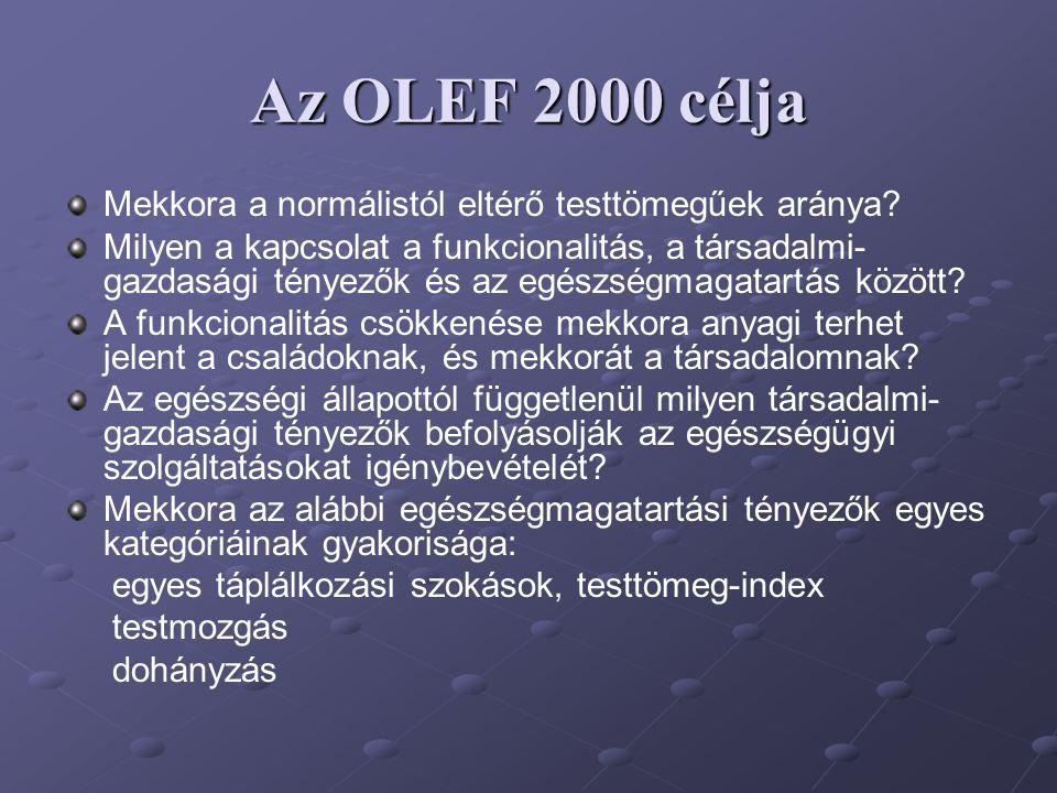 Az OLEF 2000 célja Mekkora a normálistól eltérő testtömegűek aránya