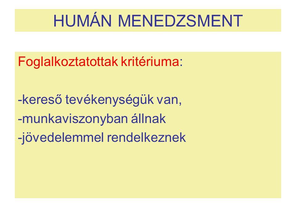HUMÁN MENEDZSMENT Foglalkoztatottak kritériuma: