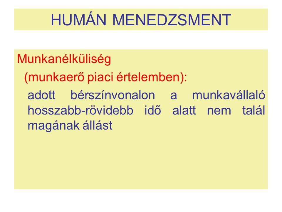 HUMÁN MENEDZSMENT Munkanélküliség (munkaerő piaci értelemben):