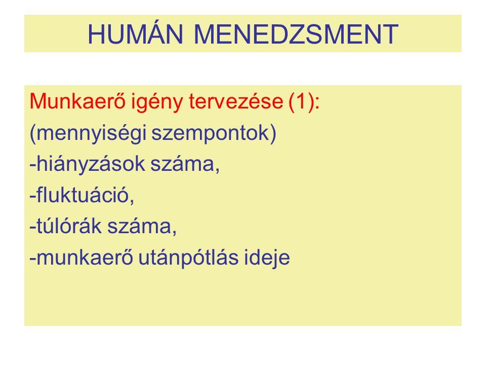 HUMÁN MENEDZSMENT Munkaerő igény tervezése (1):