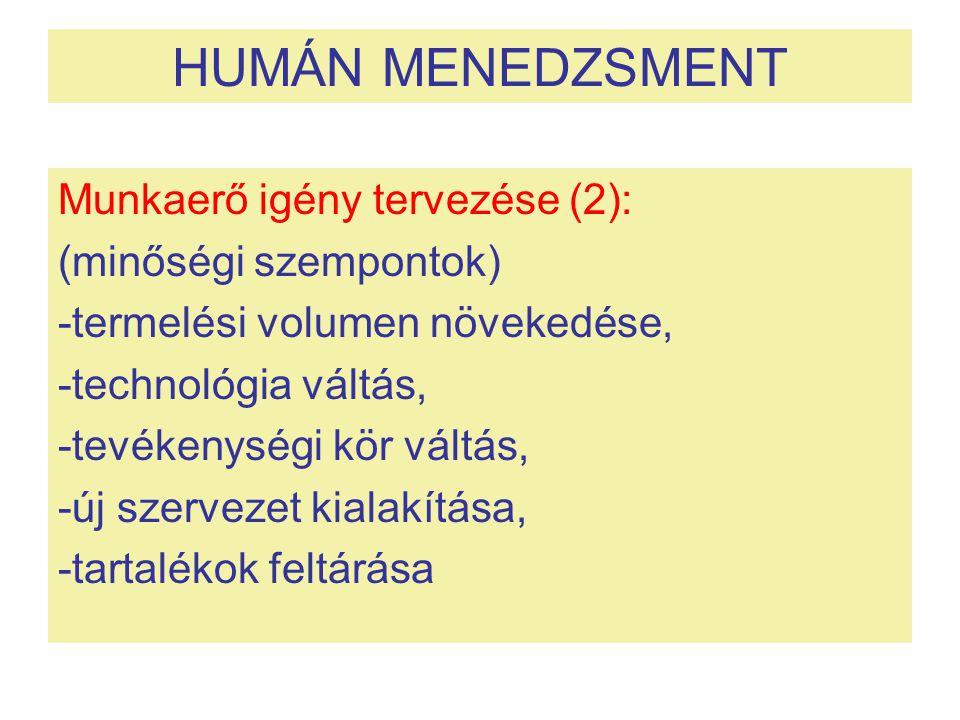 HUMÁN MENEDZSMENT Munkaerő igény tervezése (2): (minőségi szempontok)