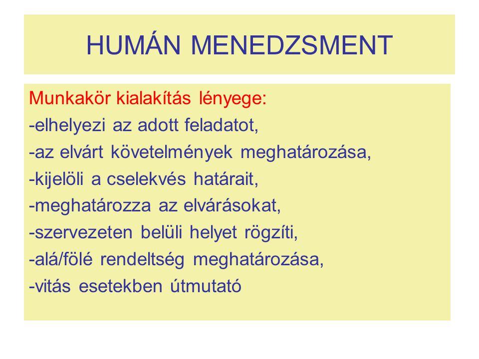 HUMÁN MENEDZSMENT Munkakör kialakítás lényege: