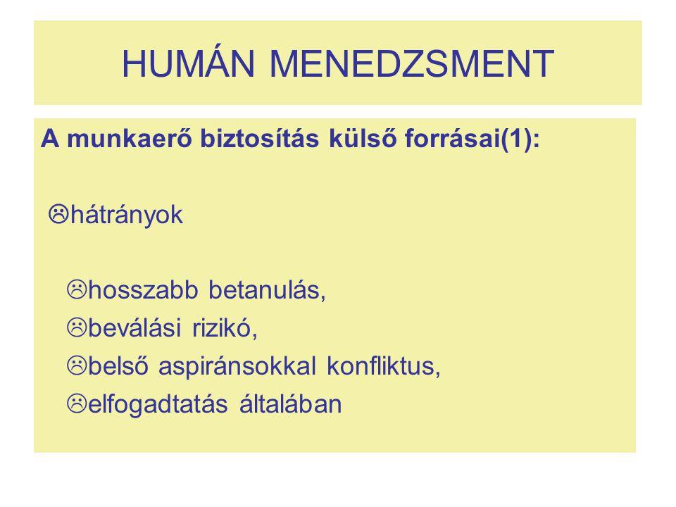 HUMÁN MENEDZSMENT A munkaerő biztosítás külső forrásai(1): hátrányok