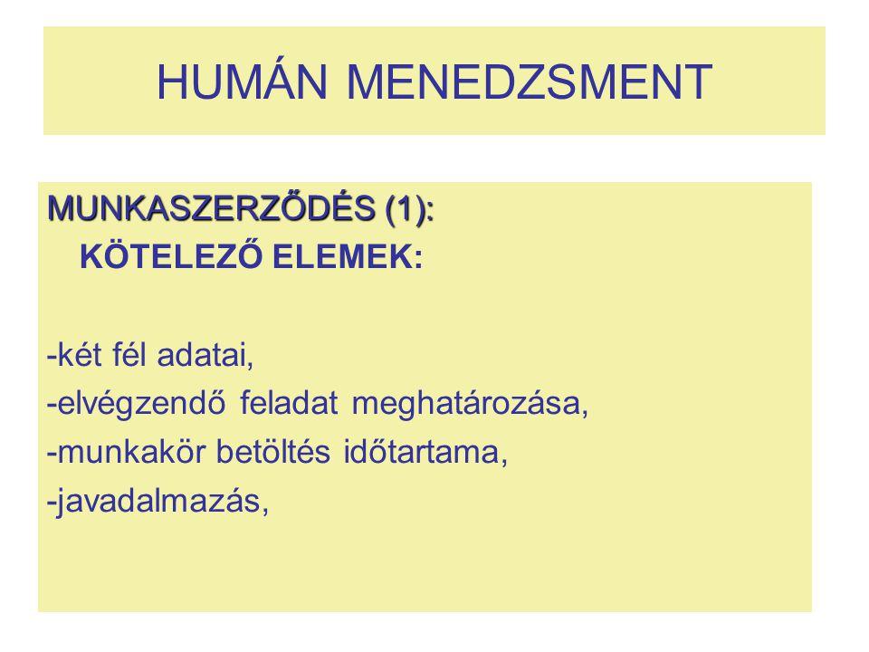 HUMÁN MENEDZSMENT MUNKASZERZŐDÉS (1): KÖTELEZŐ ELEMEK: