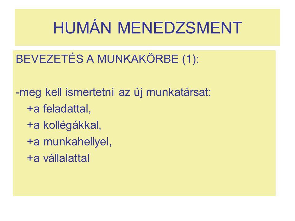 HUMÁN MENEDZSMENT BEVEZETÉS A MUNKAKÖRBE (1):