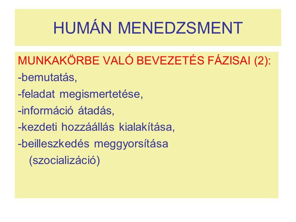 HUMÁN MENEDZSMENT MUNKAKÖRBE VALÓ BEVEZETÉS FÁZISAI (2): -bemutatás,