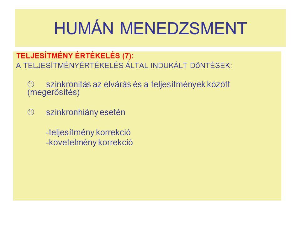 HUMÁN MENEDZSMENT  szinkronhiány esetén -teljesítmény korrekció