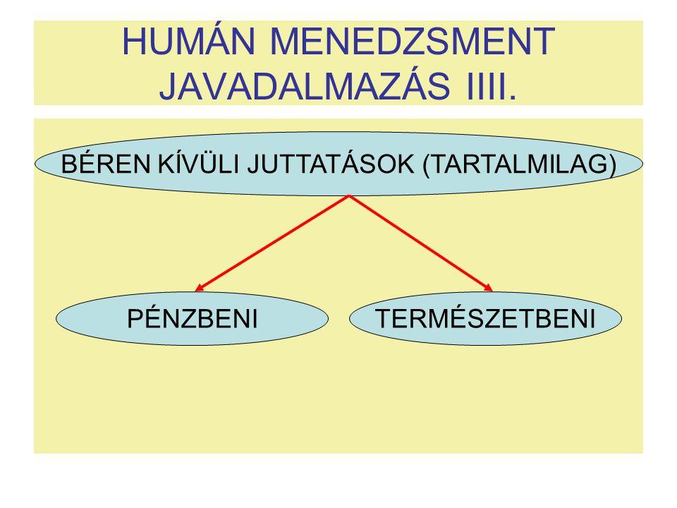HUMÁN MENEDZSMENT JAVADALMAZÁS IIII.