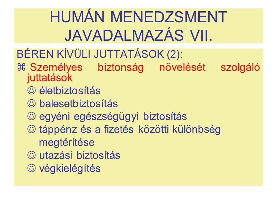 HUMÁN MENEDZSMENT JAVADALMAZÁS VII.