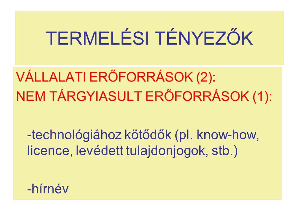 TERMELÉSI TÉNYEZŐK VÁLLALATI ERŐFORRÁSOK (2):