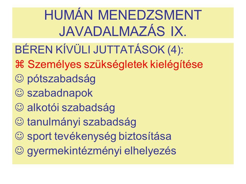 HUMÁN MENEDZSMENT JAVADALMAZÁS IX.