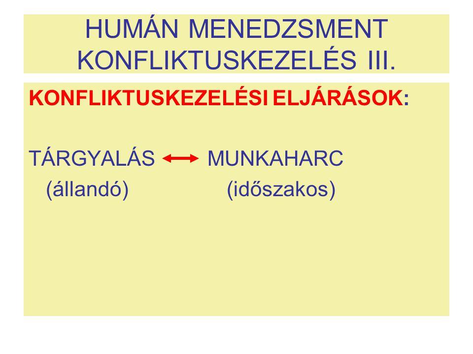 HUMÁN MENEDZSMENT KONFLIKTUSKEZELÉS III.