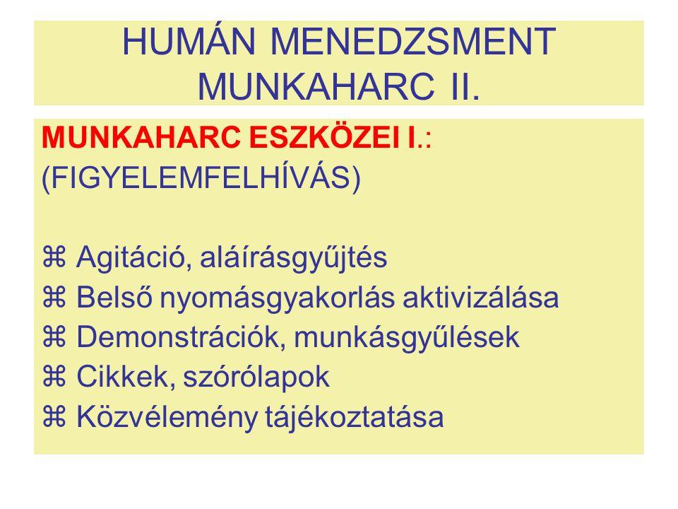 HUMÁN MENEDZSMENT MUNKAHARC II.