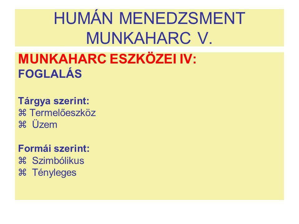 HUMÁN MENEDZSMENT MUNKAHARC V.