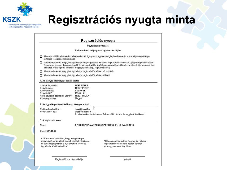 Regisztrációs nyugta minta