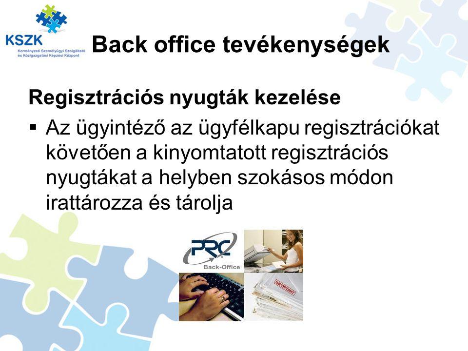 Back office tevékenységek