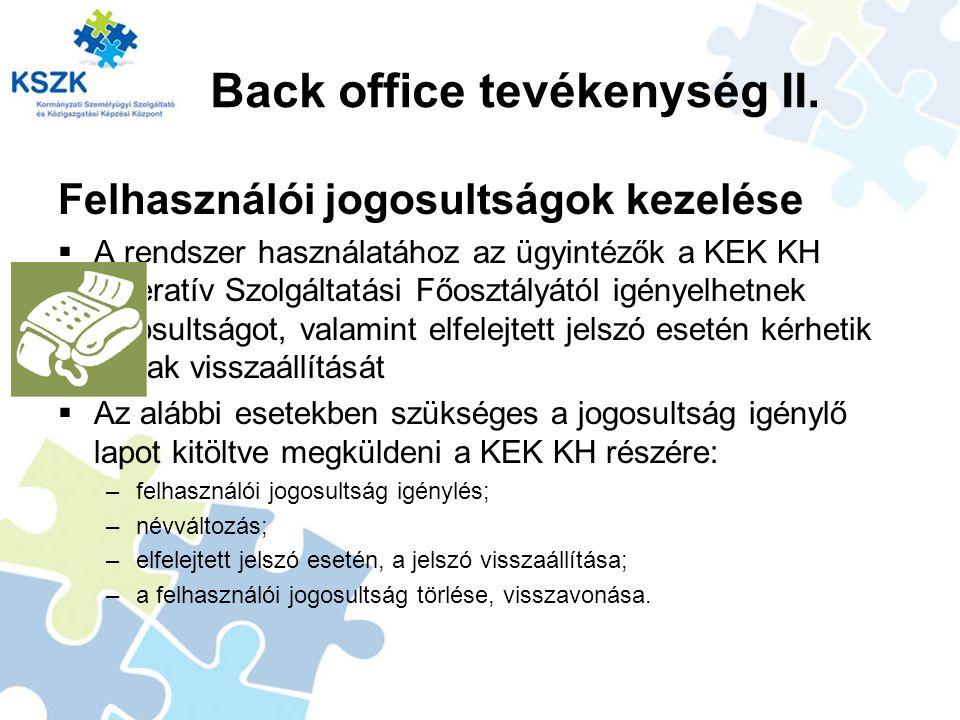 Back office tevékenység II.