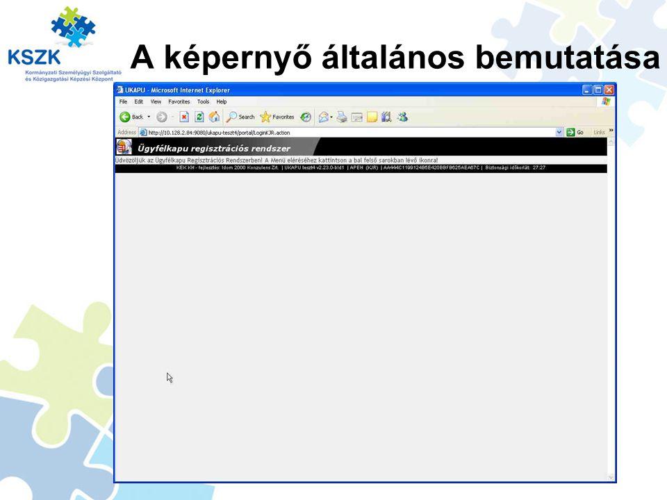 A képernyő általános bemutatása