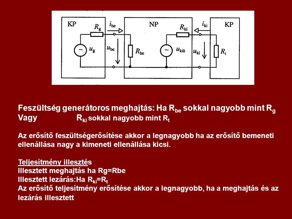 Feszültség generátoros meghajtás: Ha Rbe sokkal nagyobb mint Rg