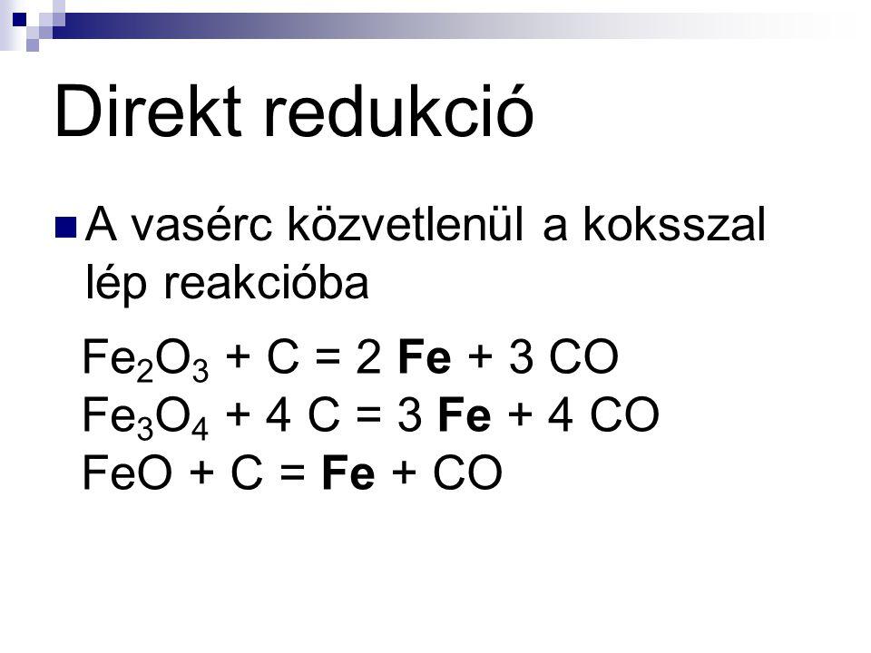 Direkt redukció A vasérc közvetlenül a koksszal lép reakcióba