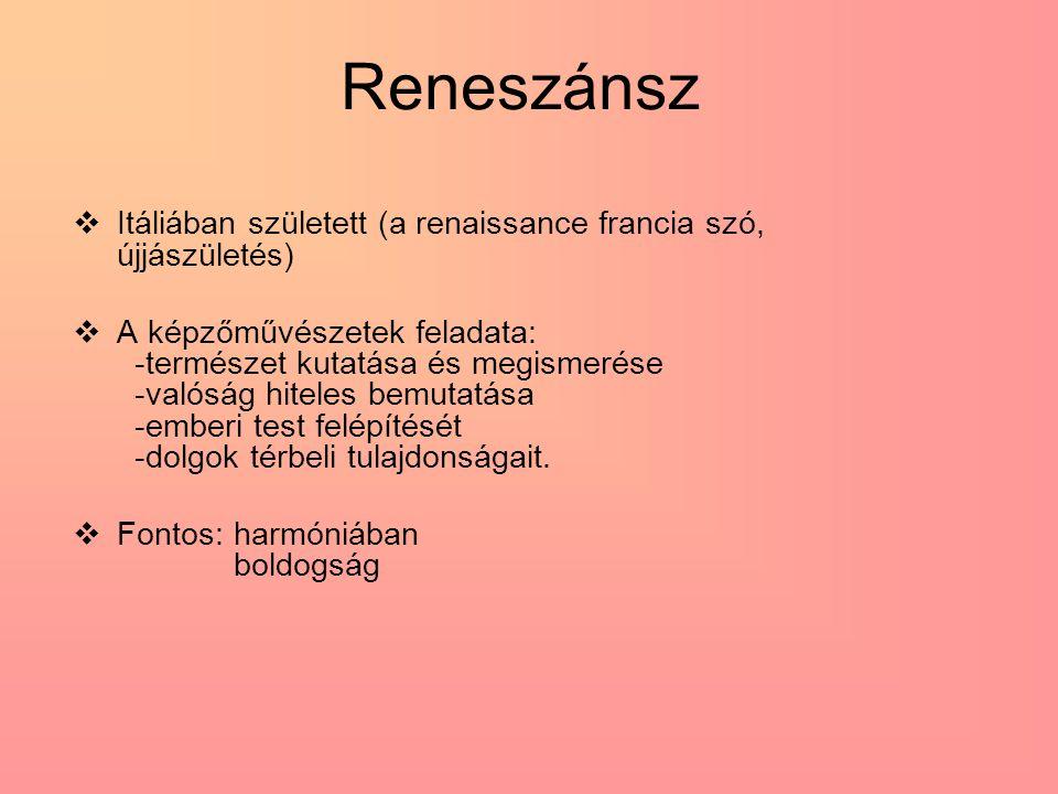 Reneszánsz Itáliában született (a renaissance francia szó, újjászületés)