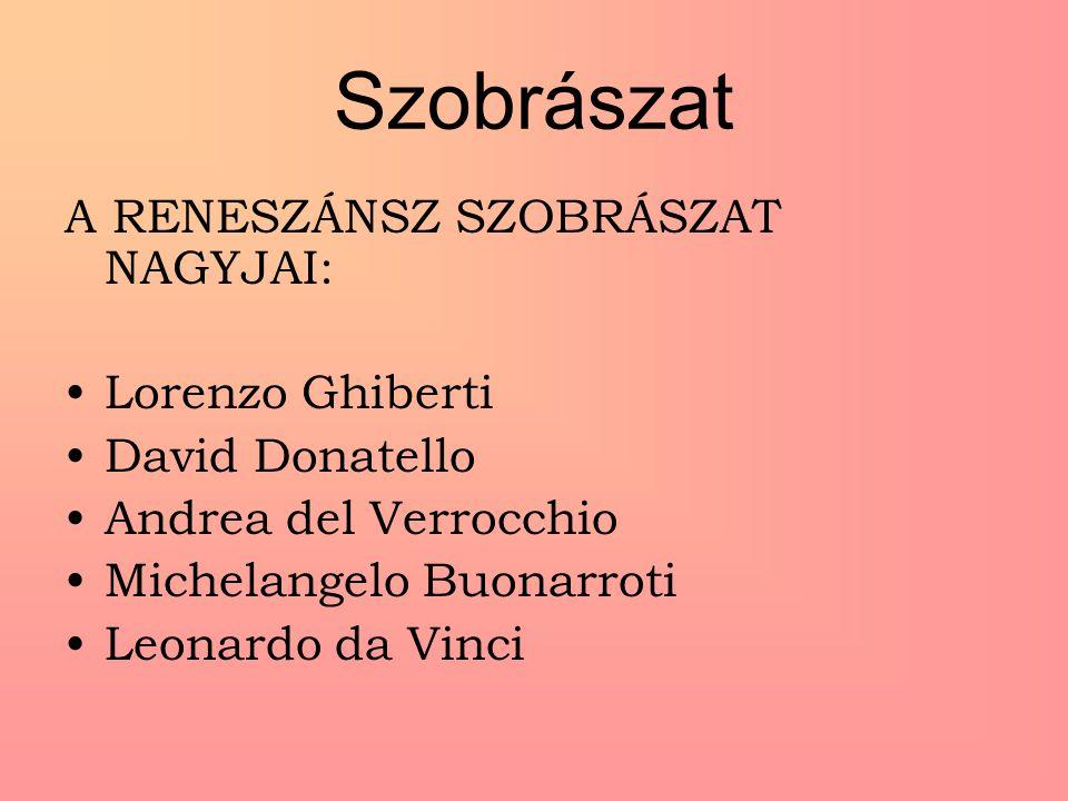 Szobrászat A RENESZÁNSZ SZOBRÁSZAT NAGYJAI: Lorenzo Ghiberti