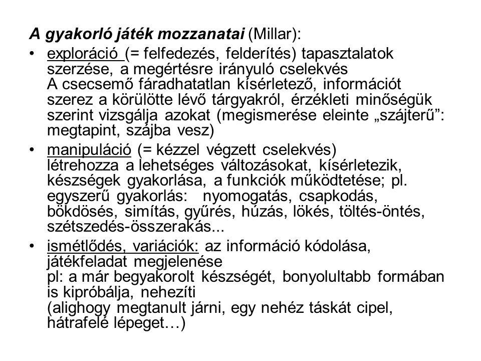 A gyakorló játék mozzanatai (Millar):