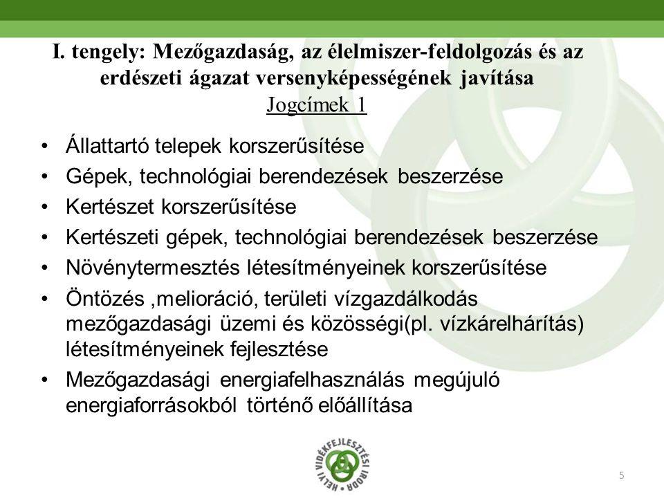 I. tengely: Mezőgazdaság, az élelmiszer-feldolgozás és az erdészeti ágazat versenyképességének javítása Jogcímek 1
