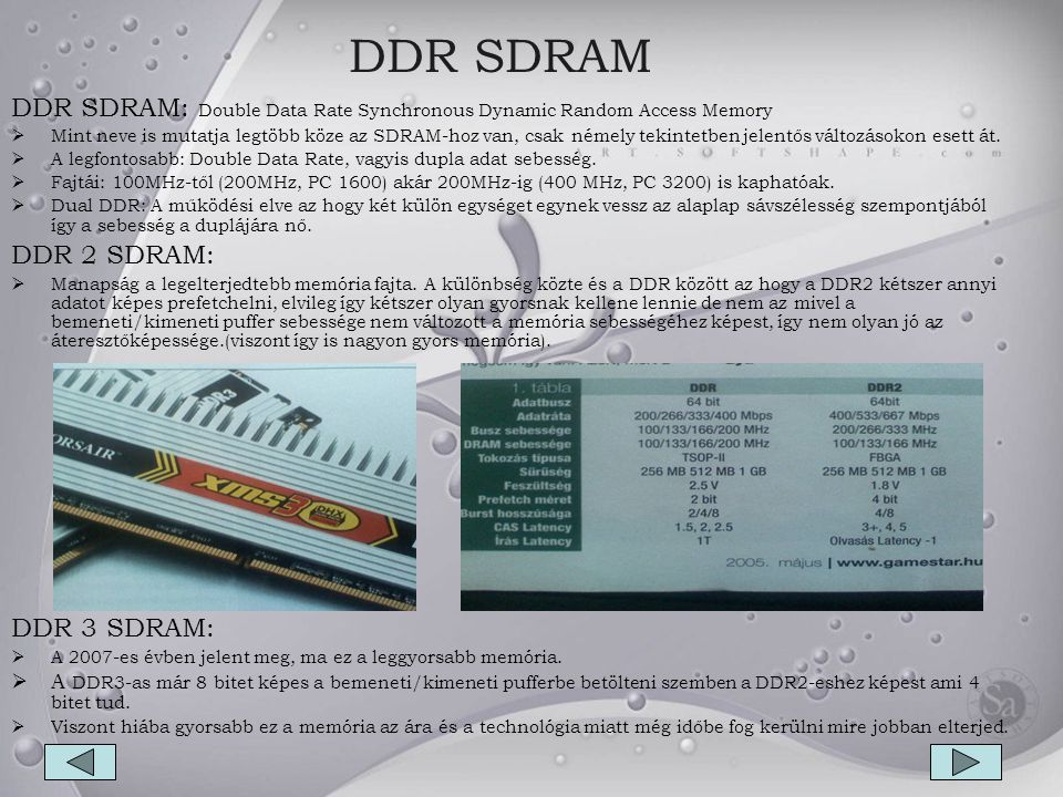 DDR SDRAM DDR SDRAM: Double Data Rate Synchronous Dynamic Random Access Memory.